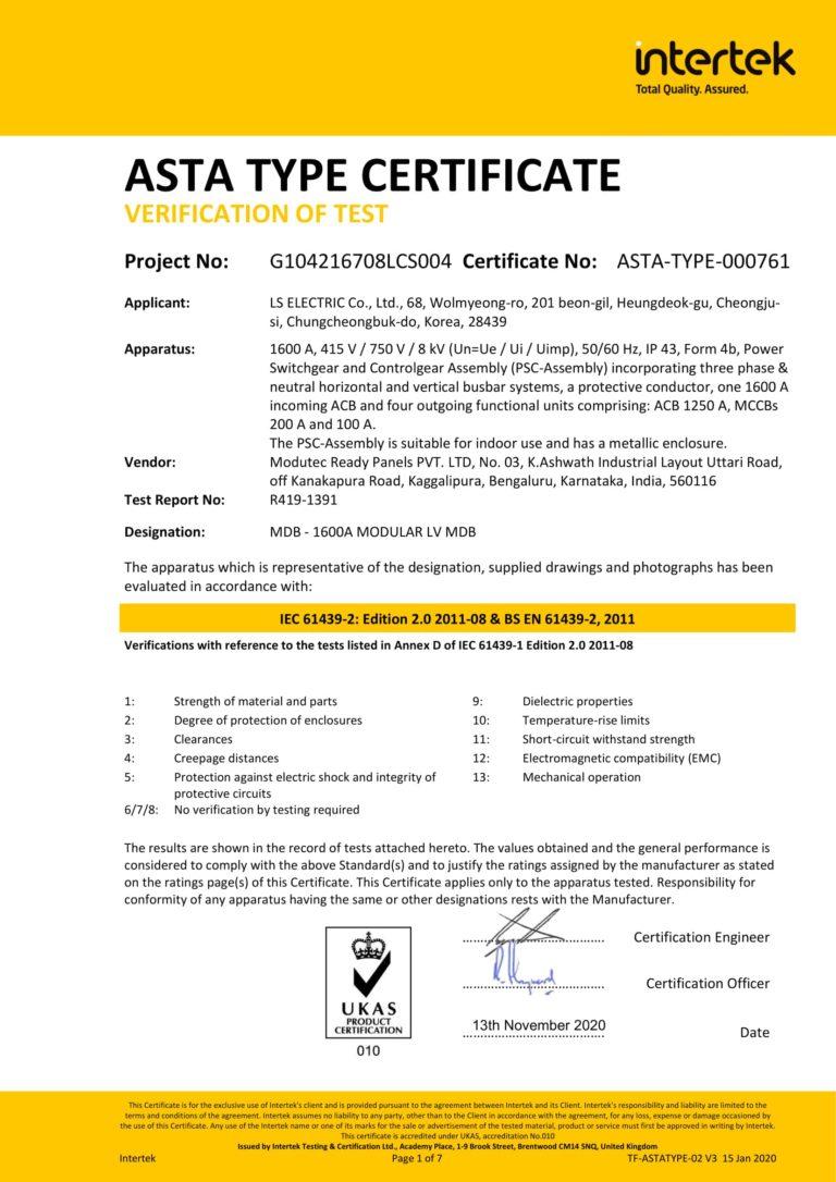 IEC 61439 LSIS 1600A - Modutec