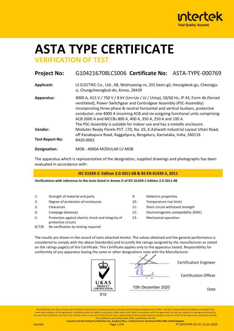 IEC 61439 TEST REPORT LSIS 4000A - Modutec